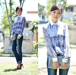 Gillian Uang - R.A.F. ( Rich And Famous) Printed Snakeskin Buttoned Down - Denim Break