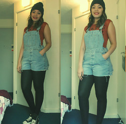 Kayla-Joleen D. - Vintage Dungarees, New Look Crop Top, Converse Black - No Scrubs
