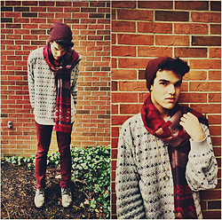 Vinny Owen - H&M Blanket Scarf, Aldo Leather Boots, Thrifted Sweater, H&M Beanie - Merlot