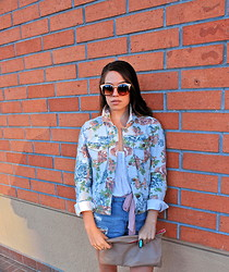 Nicole C - Urban Outfitters Floral Denim Jacket, Free People Sunnies, American Apparel Leather Clutch, Bdg Denim Shorts - Floral Fever