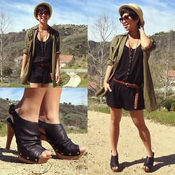 Sassy Cuna - Straw Hat Fedora, A J Morgan Vintage Sunnies, H&M Green Button Up Top, Express Romper Shorts, Qupid Open Toe Booties - Spring is in the air! (BLOG GIVEAWAY)