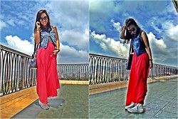 Virna Alyssa Cabuhat - Maxi Skirt, Converse Canvass Sneakers, Esprit Denim Vest, H&M Black And White Stripe Tank Top, Black Round Sunnies - IG Username : runafterabby