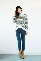 Anne - Youngor Shirt, Style Nanda High Waisted Skinny Jeans - Still Winter