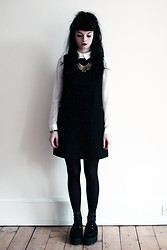 Emily H - Warehouse White Shirt, Warehouse Black Dress, Warehouse Glitter Socks, Warehouse Necklace - Gold Beads