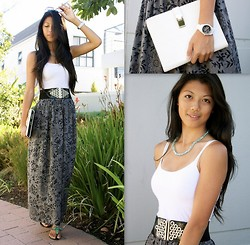 Rhea Hsu - Forever New Clutch, Fossil Watch, Hout Bay Market, Cape Town Beaded Necklace, White Tank Top, Culture Couture Waist Belt, Aldo Sandals, Forever New Aviators, Maxi Skirt - Only Two Shades of Grey