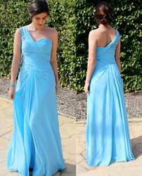 Irene Gm - Edressy Princess One Shoulder Floor Length Chiffon Prom Dress - Dreamful Blue Welcoming Spring