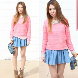 Ayaka S - Ae Pink Sweater, Lip Service Denim Skirts, Louis Vuitton Denim Bag - March and pink sweater