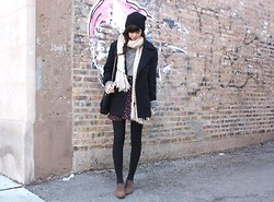 Caylee M. - H&M Beanie, H&M Scarf, H&M Sweater, Vintage Coat, Zara Bag, Vintage Boots, Forever 21 Skirt, Target Tights, Vintage Belt - But if I could give you everything I would.