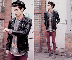 Chris S. - Asos Jacquard Shirt, All Saints Boots, Topman Red Skinny Pants, H&M Hat, Zara Leather Jacket - So Called Mr. Rock 'n' Roll