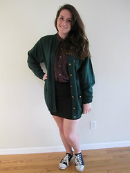 Chelsea N. S. - Goodwill Cardigan, Goodwill Plaid Shirt, Ross Pencil Skirt, Guess? Sneakers - Plaid baby, plaid.