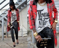 VintageVirgin Jessica - Vintage Tartan Plaid Long Blazer, Forever 21 Pleather Bf Trousers, Vintage Diy Clutch, Zara Basic Stiletto Heels, Basic Black Beanie, O Mighty Weekend O'mighty Thug Life Tee, Vintage Oversized Gold Chain - HEARD IT IN A RAP VIDEO