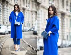 Doina Ciobanu - My Own Design Electric Blue Coat, Stella Mccartney Croco Bag - OCEAN TEARS