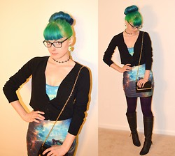 Christina W - Black Milk Clothing Green Galaxy Dress, Knee High Boots, Forever 21 Black Cardigan, Forever 21 Black And Gold Purse - Interstellar Librarian