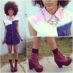 Robyn The Bank - The Cult Label Shirt Dress, Jeffrey Campbell Tardy Platforms, Gold Necklace - Fro'd Out Shawty