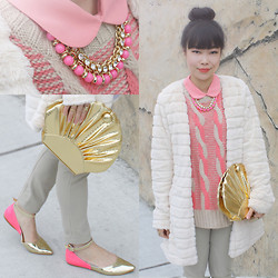 Toshiko S. - Cotton Candy Peter Pan Collar Chiffon Blouse, Oasap Braid Cable Knit Sweater Vest, Hong Kong Ribbed Fur Coat, Fancy Treehouse Vintage High Waisted Riding Pants, Forever 21 Necklace, Sway Gold Seashell Purse, Hong Kong Two Tone Flats - Pink and Gold
