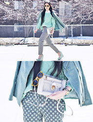 Elizabeth Jin - Asos Mint Cable Sweater, Asos Geo Print Pants, Asos Mint Long Biker Jacket, Jeffrey Campbell Audrey Wedges, Asos Yellow Plastic Sunglasses, Marc By Jacobs Clearly Bag, Marc By Jacobs Blade Gold Watch - Essential Mint