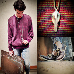 Vinny Owen - Sperry Topsider Boat Shoes, Diy Spoon Necklace, H&M Skinny Jeans, Thrifted Sweater - After Art
