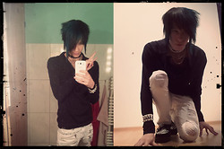 Myo Shihae - Damaged White Pants From Korean, Self Made Bracelet, H&M Black Long Arm Top - Just this