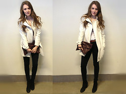 Snow S. - White Coat With Silver Details, Wera Burgundy Leather Bag, Vagabond Suade, H&M Burgundy Belt With Gold Details - Mirum