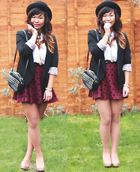 Shu-Shi Lin - Urban Outfitters Bowler Hat, Oasis Black Blazer, H&M Polka Dot Skater Skirt, Asos Studded Crossbody Bag, New Look Nude Heels - (Polka) Dotty About This Print