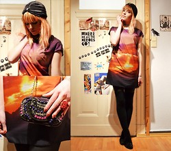 Malin Rouge - Turban, Clutch, Print Dress, Studded Loafers - At sundown