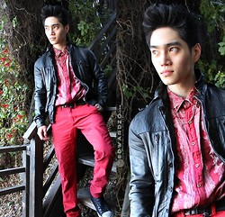 Edward Z. - All Saints Leather Jacket, Insight Red Shirt, Similar Here: Red Pants, Diesel Belt - House of Warlock
