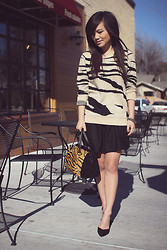 Jamie C. - Forever 21 Tiger Print Sweater, Urban Outfitters Fit & Flare Wool Skirt, Zara Tiger Print Suede Satchel, Zara Suede D'orsay Heels, Oia Jules Crystal Ball Pave Bracelet - Tiger tiger, burning bright.
