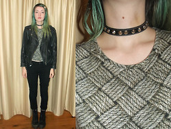 Freya C - Paddys Markets Spiker Choker, Thrifted Print Shirt, Etsy Skeleton Hair Clip, Vintage Leather Jacket, Black Jeans, New Rock Boots - Skyrim, what is even a sleep