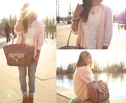 Shu-Shi Lin - Vintage Peach Cardigan, Vintage Lace Top, Accessorize Winged Bag, H&M Boyfriend Jeans - Lace and boyfriend jeans are always a good idea