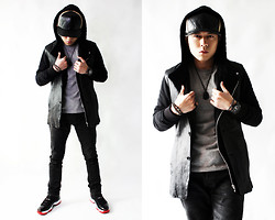 Gray Kuo - New Era Leather Hat, Nike Air Jordan Xi Bred - Black Leather Street