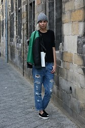 Sietske L - Cos Tee, Frontrowshop Leather Jacket, Monki Baggy Jeans, Zara Hairy Slip Ons - The boy-ish look