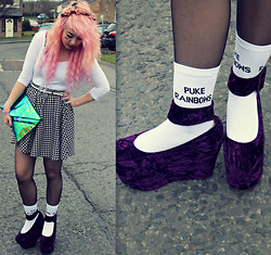 Sarah Miller - River Island Top, River Island Skater Skirt, Jeffrey Campbell Flatforms, Staff By Maff Socks - I am a mermaid but I've sold my voice