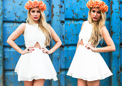 Danielle R - Blunt Collection 'Sophia' Cream Lace Dress, Secret Statement Orange Floral Crown - This is what makes us girls