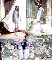 Lunie Chan - Offbrand Shoes, Offbrand Tights, Offbrand Dress, Etoile Du Monde Cardigan, Zara Custo Jean Vest - Angels are gone
