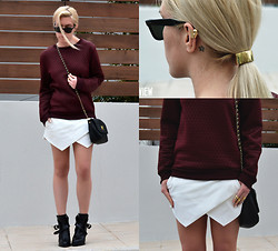 Dena T. - Asos Balenciaga Lookalike Rings, Zara Wrap Skort, Asos Chain Cross Bag, H&M Quilted Sweatshirt, H&M Hair Cuff, Ray Ban Wayfarer Shades, Oasap Ear Cuff, Zara Buckled Ankle Boots - THE WRAP SKORT