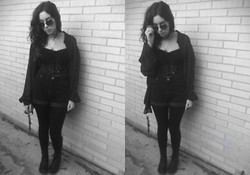 Hannah Kinchen - Thrifted Black Corset, Thrifted Overthing - All black errything