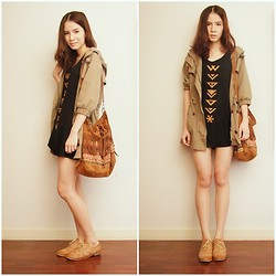 Kapongpeang K. - Military Jacket, Black Dress, Fringe Bag - Simply me