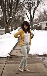 Emily Perkovich - Forever 21 Mustard Swiss Dot Cardi, Love Lace Tie Front Button Up, Forever 21 Light Wash Distressed Jeggings, Vintage Crochet Wedge - 03072013