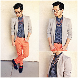 Shawn C. - Old Navy Printed Shirt, Asos Coral Trousers, Zara Blazer - 2 Chainz