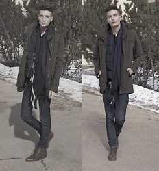 Andrew Eirich - Oak Jerome Jacket, H&M Outerwear Vest, H&M Oversized Scarf, H&M Denim, Zara Leather Boots - Winter Chill.