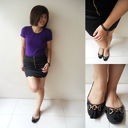 Cheng CT - Giordano Tee, Black Tight Skirt, Rm25, Black Hexagon Stones Bracelet, Payless Black Flats, Rm79.00 - XOXO