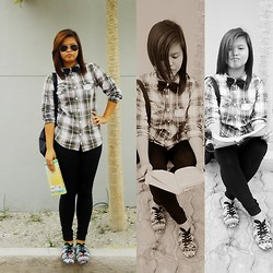 Nicole Waters - Ego Denim Checkered Long Sleeves, Ray Ban Sunglass, Kicks Sneakers - The Geeky Bow Tie Freak Law Student.
