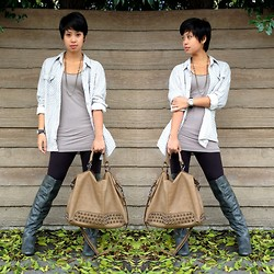 Sassy Cuna - Cotton On Mens Checkered Top, Madden Girl Knee High Boots, Poshmark App Studded Taupe Bag - Taupes & Greys