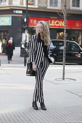 Abby OW - Costume National Suit, Versace Patent Bag, Vintage Chelsea Boots, Prism Sunglasses - Beetle Juice LFW AW13