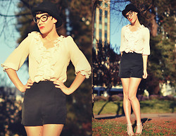 Camille K. - Vintage Top, Vintage Shorts, H&M Bowler Hat, Forever 21 Glasses - Ruffles and bowlers.