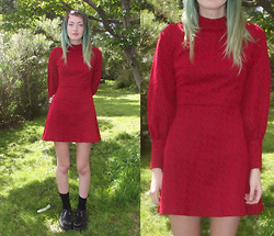 Freya C - Garage Sale Vintage 70's Dress, Demonia Creepers - Your Face is Such a Beautiful Planet