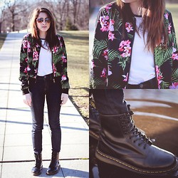 Alexis Nigro - Forever 21 Tropical Jacket, Dr. Martens Doc, Urban Outfitters High Rise Twig Jeans, Urban Outfitters Heart Shaped Sunglasses - La Tropicana
