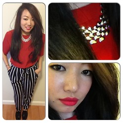 Vintage Mantra - Forever 21 Stripe Pants, Ebay Bow Shoes, Forever 21 Chain Necklace - Red Revival