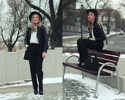 Ula Małecka - H&M Hat, H&M Jacket, Second Hand, Deezee, H&M Top - Black and white