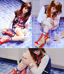 Lunie Chan - Cocolulu Necklace, H&M Cardigan, Irregular Choice Shoes, Angelic Pretty Socks, Hilfiger Short, Zara Shirt - American Girl